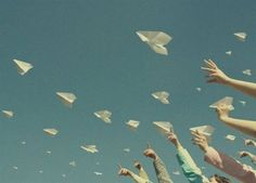 send off a bunch of paper airplanes #bandofun