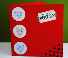 Happy hearts! Happy Heart, Have A Great Day, Office Supplies, Crafting, Table, Cards, Craft, Artesanato, Crafts