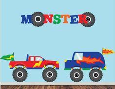 Monster Trucks Wall Decal  Childrens Fabric  by StudioWallStickers, $78.00