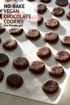 These cookies are simply divine. Just throw everything into the food processor, roll out, cut, dehydrate, and devour. They will keep in a sealed container in the fridge for weeks. #theblenderrecipes #rawchocolatecookies #veganchocolatecookies #rawcookierecipe #vegancookierecipes #nobakecookies #nobakevegancookies #chocolate