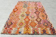 Anatolia Turkish Kilim 132''x 68'' Area Rug Carpet by orcunshop