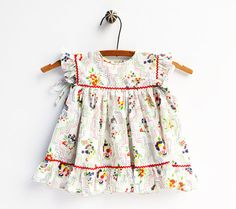 Red Rick Rack Toddler Dress Baby Girl Dress by StarGlowVintage