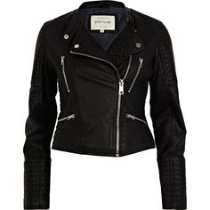 Black Quilted Panel Biker Jacket from River Island