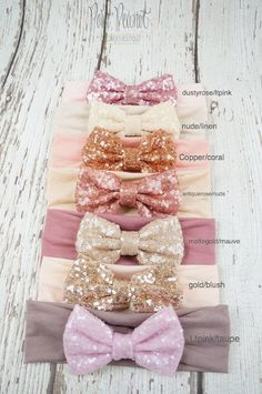Messy Sequin bow head wrap- Made from the softest cotton and embellished with a 4 sequin bow. Cotton band measures 2.75 wide. Listing is for your