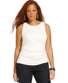ING Plus Size Sleeveless Ruched Tank Top - Tops - Plus Sizes - Macy's