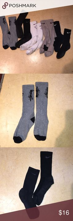 Nike athletic socks. 5 pair Nike athletic socks.  Size women's large.  Great for volleyball or basketball. No rips and no smells Nike Accessories Hosiery & Socks