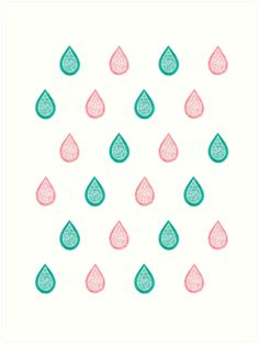"""""""Turquoise blue and coral pink raindrops"""" Art Print by Savousepate on Redbubble #artprint #homedecor #pattern #abstract #watercolor #pastel #white #pink #coral #peach #blue #green #turquoise #aqua"""