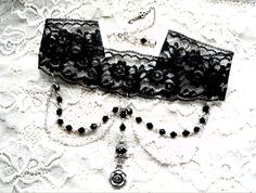Black Lace Choker Victorian Gothic Choker Gothic by MadameMoriarty, $20.00