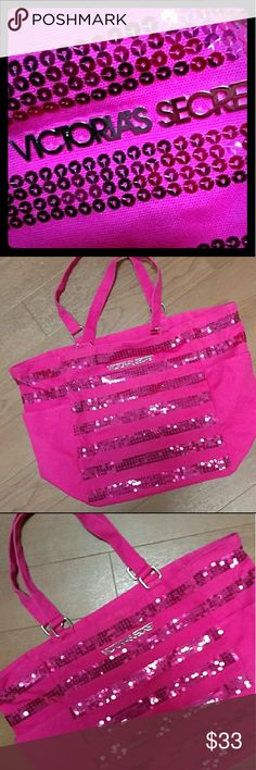 🌠VS sequined tote!🌠 🔥Hot lil Victoria's Secret sequined bag!🔥Stylish piece to own! Lightweight hot pink canvas material w/striped sequins, has pocket inside.👛 Killer price!💸If you want this for FREE lmk! ⭐⭐🌠Free w/$100 purchase item!🌠⭐⭐ Victoria's Secret Bags Totes