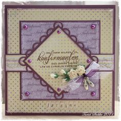 ~Turids papirpuslerier~: Konfirmantkort - jente Confirmation Cards, Lay Outs, Card Ideas, Birthday Cards, Scrap, Frame, Creative, Crafts, Communion