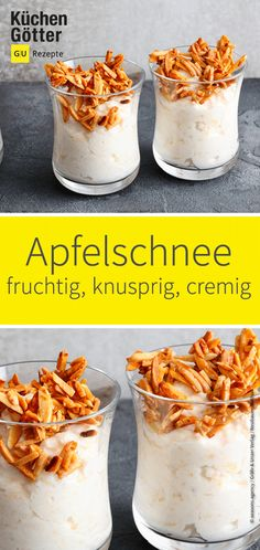 Low-carb apple snow with Low-Carb-Apfelschnee mit Knusper This low carb dessert makes you happy. Delicious, creamy and fruity apple snow with crispy almond sticks. HERE IS THE RECIPE: www. Breakfast Recipes, Dinner Recipes, Dessert Recipes, Delicious Desserts, Pastry Recipes, Cake Recipes, Low Carb Desserts, Low Carb Recipes, Apple Desserts