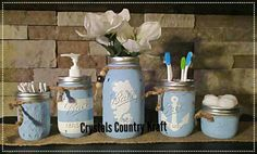 Beach Theme Bathroom, Nautical Bathrooms, Bathroom Ideas, Anchor Bathroom, Bathroom Storage, Mason Jar Art, Mason Jar Gifts, Distressed Decor, Cow Kitchen Decor