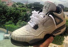 """Air Jordan 4 """"White Snake"""" Custom"""