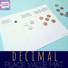 free printable decimal place value mat- tenths, hundredths, and thousandths