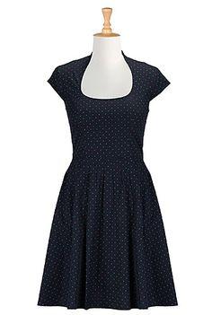 Dot print A-line poplin dress