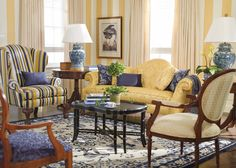 Yellow striped wallpaper, yellow sofa, blue yellow and white striped chair - living room with Ethan Allen 096730 Classic Ginger Jar Table Lamp - Blue and White Porcelain Lamps - Deep Discount Lighting Cottage Living Rooms, Living Room Grey, Formal Living Rooms, Home And Living, Living Room Decor, Living Spaces, Striped Wallpaper Living Room, Modern Living, Traditional Decor