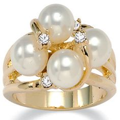 14k Gold-Plated Simulated Pearl and Austrian Crystal Ring