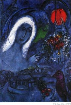 Field of Mars, 1955 by Marc Chagall. Surrealism. cityscape. Museum Folkwang, Essen, Germany