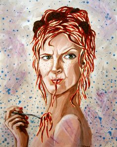Original Acrylic portrait  Spaghetti Head Betty by rachelledyer, $275.00