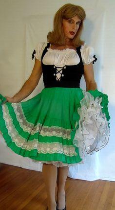 tgirl wearing peasant girl costume
