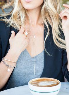 Layered necklace basic tee. #AFashionLoveAffair