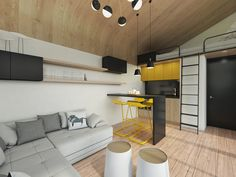 Here's a prefab concept from Serbia, developed by Salt & Water, a Novi Sad firm that does yacht and aircraft interiors as well as architecture. The Tiny Eco-House would . Read moreSalt & Water's simple and secure prefab cabin Modern Tiny House, Tiny House Design, Casa Mix, Portable Tiny Houses, Living Room Designs, Living Spaces, Gazebos, Prefab Cabins, Floating House