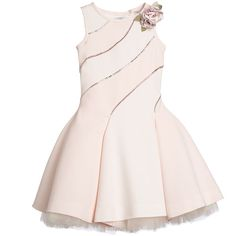 A stunning dress set by Monnalisa Couture. In soft shades of pink neoprene and cut on the bias, that gives the dress a distinctive flow and feel. It is crafted with lines of diamantés on the front and back with concealed zips on the side and diagonally on the shoulder. The loose, full petticoat is made from a smooth cotton jersey with an amazingly soft and fluffy layers of tulle that adds volume and flare to this beautiful dress, and can also be worn with other dresses, to add volume. The…