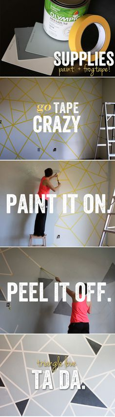 Painting geometric shapes using tape for walls, cement floors or canvases