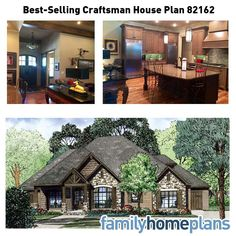 Best-Selling House Plan 82162 can be classified as a Craftsman design due to the various siding materials including brick, stone and cedar shake. In addition to 2340 square feet of living space, we have an outdoor grilling porch in the rear with a fireplace and outdoor grill. Read more from our latest blog: http://blog.familyhomeplans.com/2014/10/best-selling-house-plan-with-photographs/