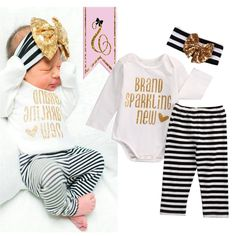 Baby Children Clothes Sets Bronzing Baby Girls Tops Bodysuit Stripe Leggings Pants =Headband Outfits 3pcs Set Clothes