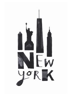 Calli cities (New York) by Andrew Fox February Calligraphy, P Calligraphy, New York Landmarks, New York Buildings, Famous Landmarks, New York Poster, City Poster, New York Quotes, Lettering Art