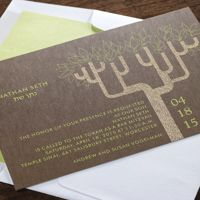 The Tree of Life is beautifully illustrated on this earthy Bar or Bat Mitzvah invite, complete with your son or daughter's name in a contrasting ink color (shown here in lime).