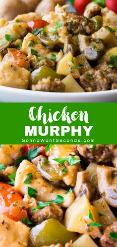 Our Easy Chicken Murphy is an Italian inspired favorite that includes a delightful mix of diced chicken, Italian sausage, peppers, and potatoes combined with a divine sauce made of stock, wine and pepper brine, and served over a bed of angel hair pasta. Perfect for gather your family around the table for Sunday Supper! #Best #Chicken #Murphy #Recipe #Wine #Dinners #Quick #Easy #FamilyCircle #Food #Families #Dishes #Cooking #ComfortFoods #StoveTop #Meals #Parties #Garlic #Italian #Sausage