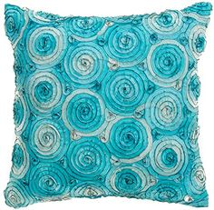 Again, I can find two other pillows in either orange, yellow or red to go with this one that are concentric squares or zig zag. This may be difficult to find as an applique.    Avarada Triple colour Rose Bouquet Decorative Throw Pillow Cover 16x16 Inch light Blue Avarada http://www.amazon.com/dp/B00L3G9JFW/ref=cm_sw_r_pi_dp_3b51ub1AVTXJQ