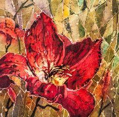 Red Daylily - Watercolour Batik on Rice Paper