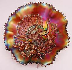 Northwood Amethyst Peacocks Carnival Glass Ruffled Bowl