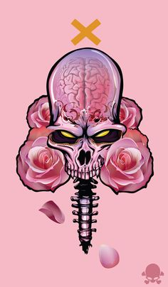 Undead Beauty  by Gaks Designs (via Creattica) | The colour palette and roses contrast amusingly with the fierce look of the skull. This design is very symmetrical, but for the petals falling at the bottom that break up the symmetry. I really like the transparency in the skull and how the X is yellow (because the eyes are).