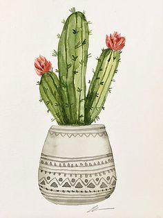 Original watercolor cactus in gray pot no. Cactus Painting, Watercolor Cactus, Plant Painting, Plant Drawing, Plant Art, Abstract Watercolor, Watercolor Illustration, Watercolor Paintings, Simple Watercolor
