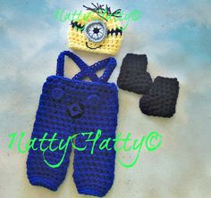Despicable Me Minion For Boy  Crochet Hat Overrall  by NattyHatty, $44.99