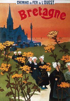 Affiche chemin de fer de l'ouest - Bretagne Illustrations Vintage, Illustrations And Posters, Railway Posters, Vintage Typography, Travel Images, Vintage Travel Posters, Cool Posters, Vintage Photos, Vintage Stuff