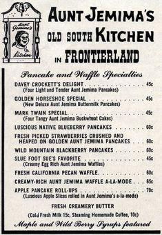 They're Toasted! Disneyland Ads, 1957 « Progress City, U. Old Disney, Disney Tips, Disney Love, Disney Magic, Disney Parks, Disney Stuff, Punk Disney, Vintage Menu, Vintage Food