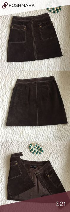 """Soft Brown Leather Suede Petite Skirt INC Sz 6P Let your inner cowgirl or motorchick 'chic' out in this gorgeous brown sueded mini skirt.  So many details to remember: two deep front pockets, white stitching , and a zipper that runs the 16.5"""" length of the skirt. This must have skirt is also lined so that you don't hide your chaps!  The wide waist band is the last added feature of this figure forgiving skirt. Thanks INC for making a girl feel like a girl in leather. INC International…"""