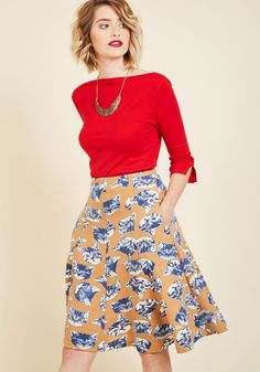 So Happy Right Meow Skirt | Mod Retro Vintage Skirts | ModCloth.com Raise your spirits in 'purr-fect' fashion by flaunting this mustard skirt! This soft, sweater-like knit is smartly tailored and absolutely covered in cheery blue kitties, making you smile and prance every time you pull this pocketed piece from your wardrobe.
