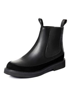 #AdoreWe NAIYEE Black Round Toe Calf Leather Flat Ankle Boots - AdoreWe.com
