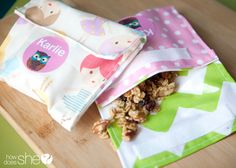 Cute Snacks Unite! DIY Reusable Snack Bags | How Does She