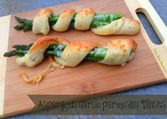 Super Easy and So Beautiful to Serve as Appetizers or Side Dish ~ Asparagus Garlic Parmesan Twists.