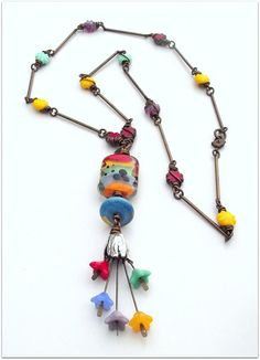 Multicoloured necklace flower cluster necklace by ButtonedUpBeads