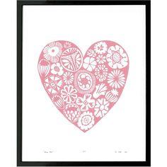 Lu West - Flower Heart Print in Rose Quartz ($68) ❤ liked on Polyvore featuring home, home decor, wall art, motivational wall art, unframed wall art, blossom wall art, flower stem and heart wall art