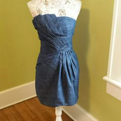 "Romeo & Juliet Couture Strapless Dress. Denim, 89% cotton, 9 % poly, 2 % spandex, strapless, with gathering on back top, fan pleated detailing in front, 24"" long, has side zipper, like new. Romeo & Juliet Couture Dresses Strapless"