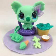 Littlest Pet Shop RARE HTF Mint Green Koala Bear #2784 w/Accessories #Hasbro